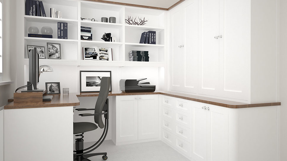 White fitted home office furniture