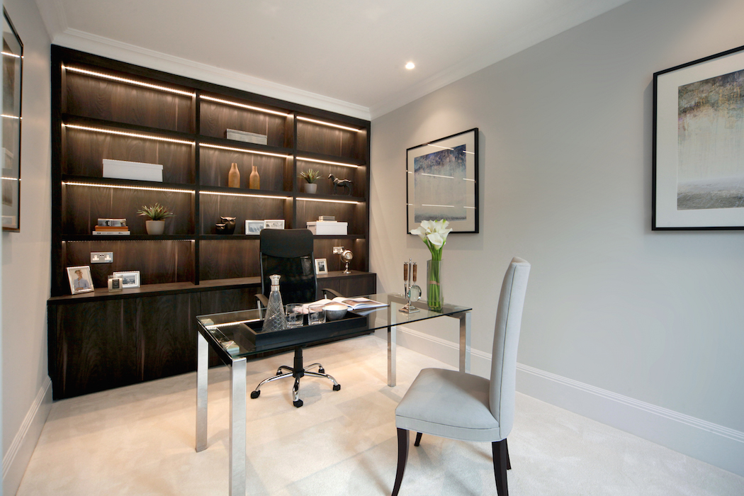 Walnut stained fitted home office bookcase