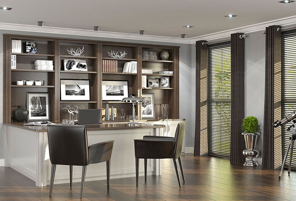 Walnut and painted home office furniture