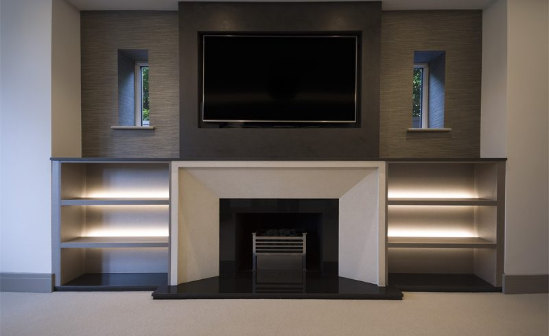 Bespoke Fitted Alcove TV Wall Unit in Confort Penelope finish