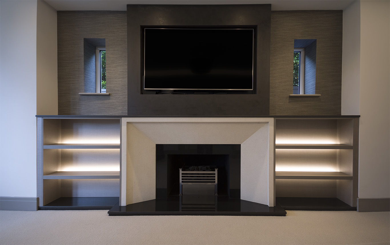 Fireplace fitted Alcove shelving