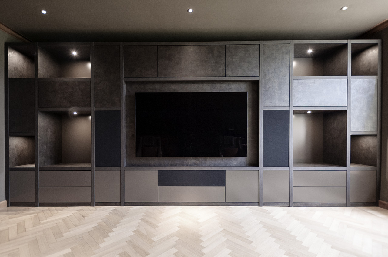 Bespoke Fitted TV Wall Unit in Volcano Ares finish